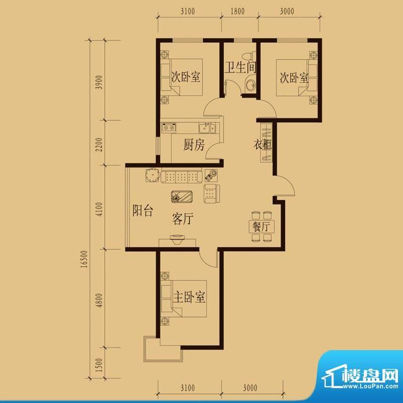 新大院户型图2#楼-E1 3室2厅1卫面积:108.38平米