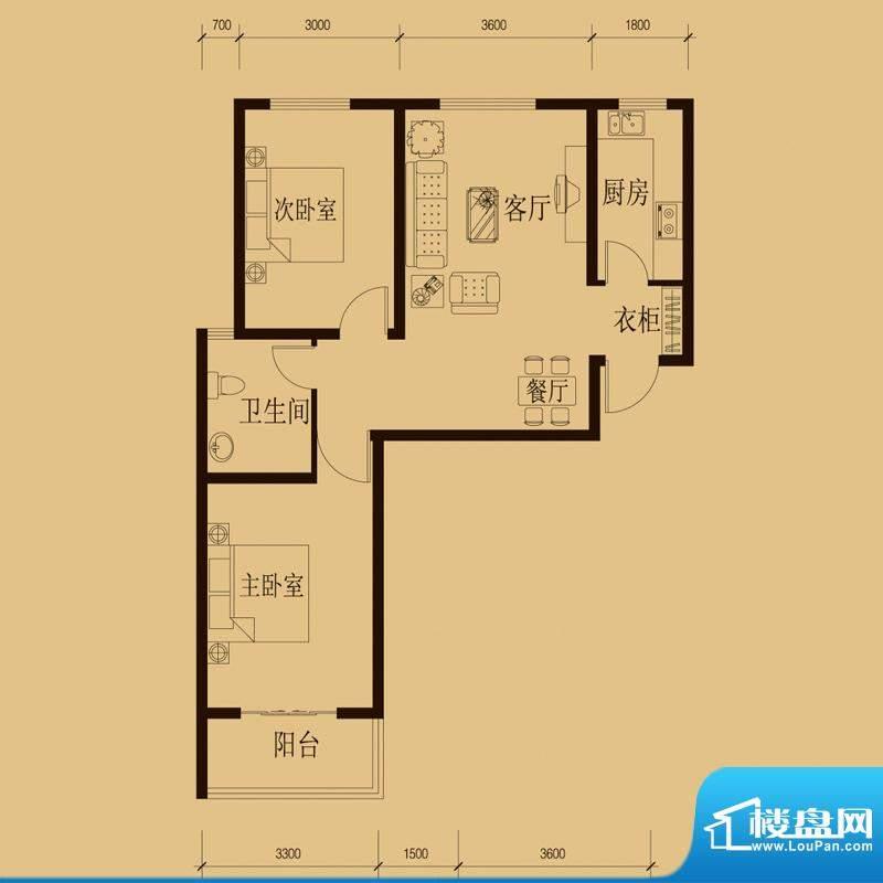 新大院户型图2#楼-A1 2室2厅1卫面积:89.68平米