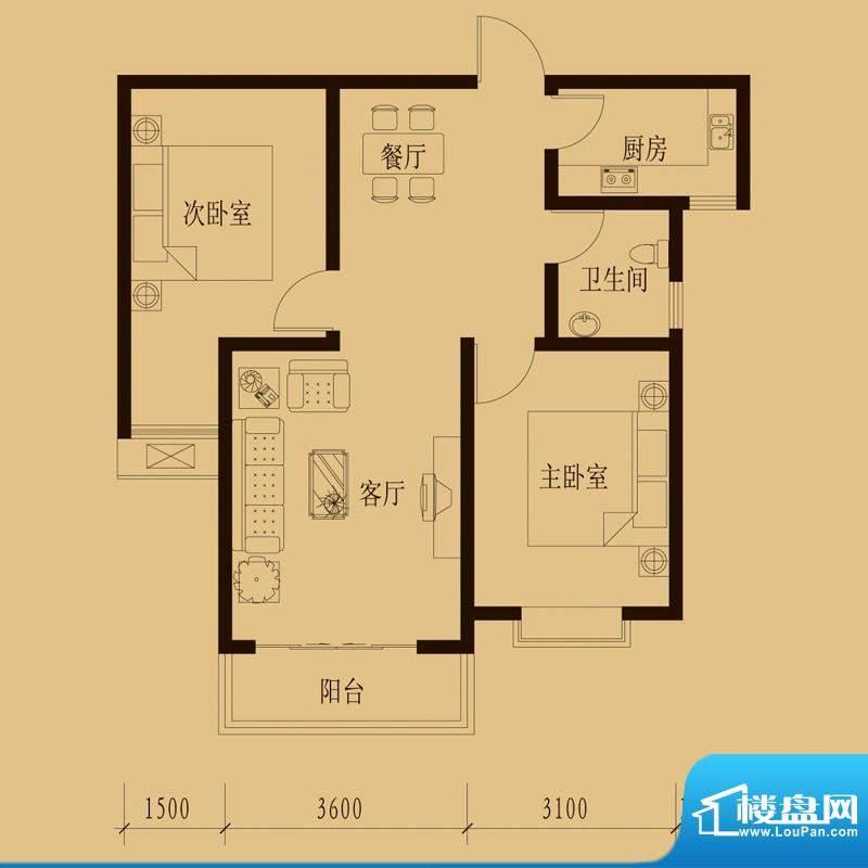 新大院户型图2#楼-A2 2室2厅1卫面积:83.46平米