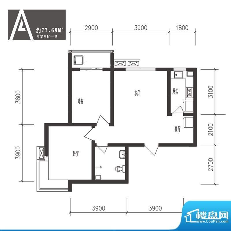 竹境户型图A户型 2室2厅1卫1厨面积:77.68平米