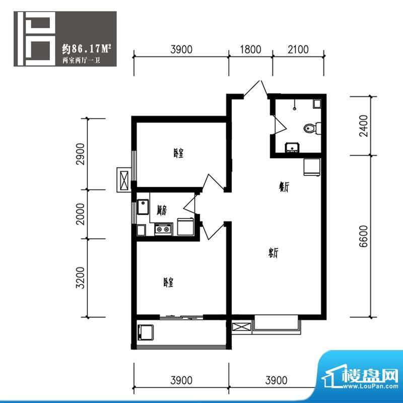 竹境户型图B户型2室2厅1卫1厨面积:86.17平米