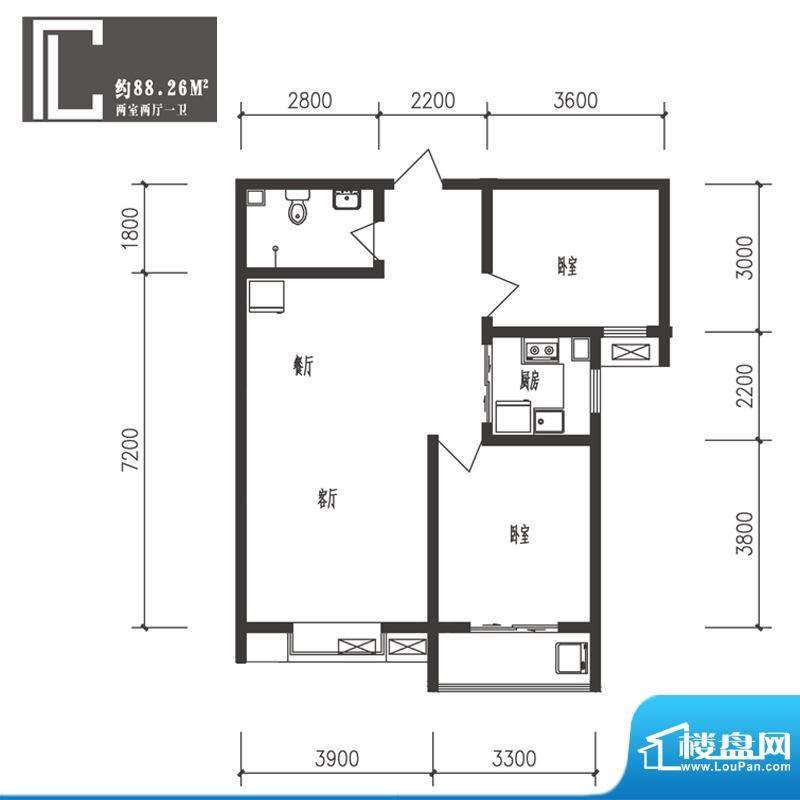 竹境户型图C户型2室2厅1卫1厨面积:88.26平米