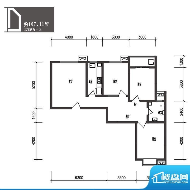 竹境户型图D户型 3室2厅1卫1厨面积:107.11平米