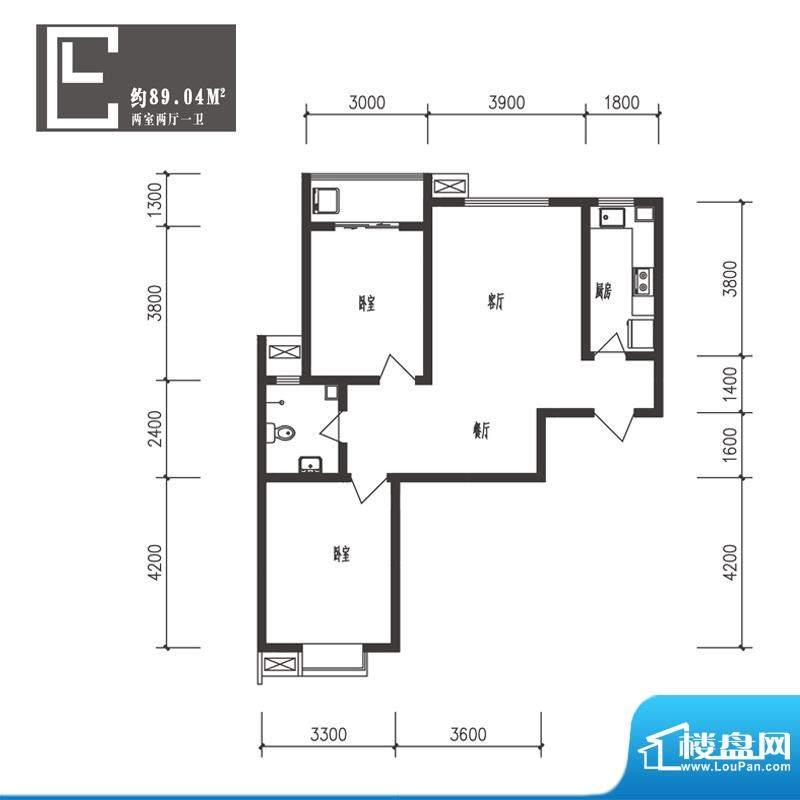 竹境户型图E户型2室2厅1卫1厨面积:89.04平米