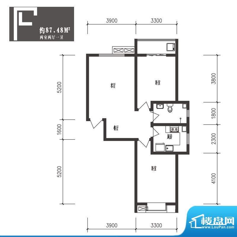 竹境户型图F户型2室2厅1卫1厨面积:87.48平米