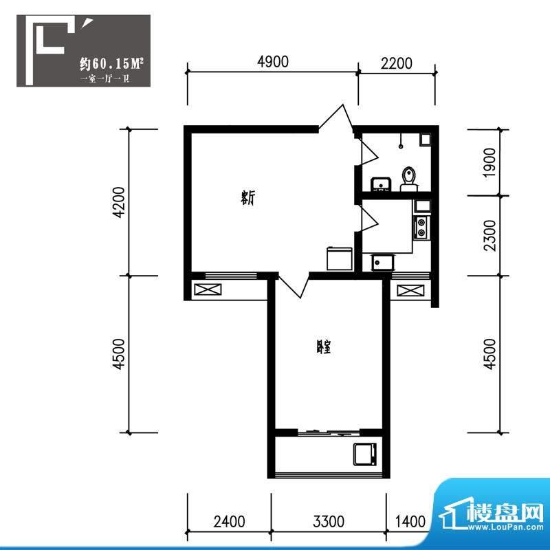 竹境户型图F户型1室1厅1卫1厨面积:60.15平米