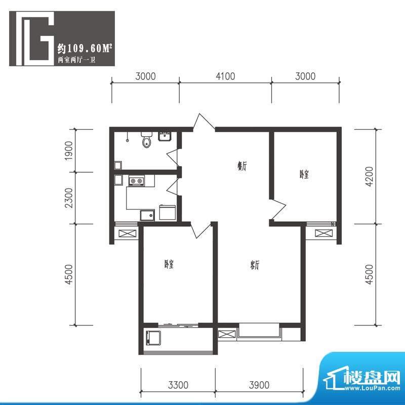 竹境户型图G户型2室2厅1卫1厨面积:109.60平米