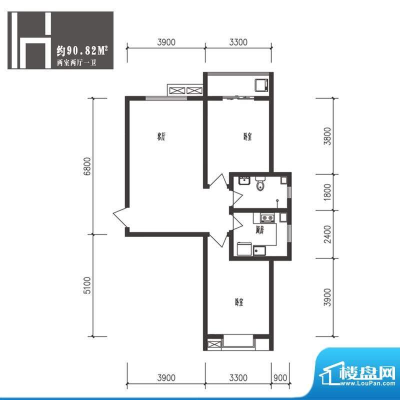 竹境户型图H户型2室2厅1卫1厨面积:90.82平米