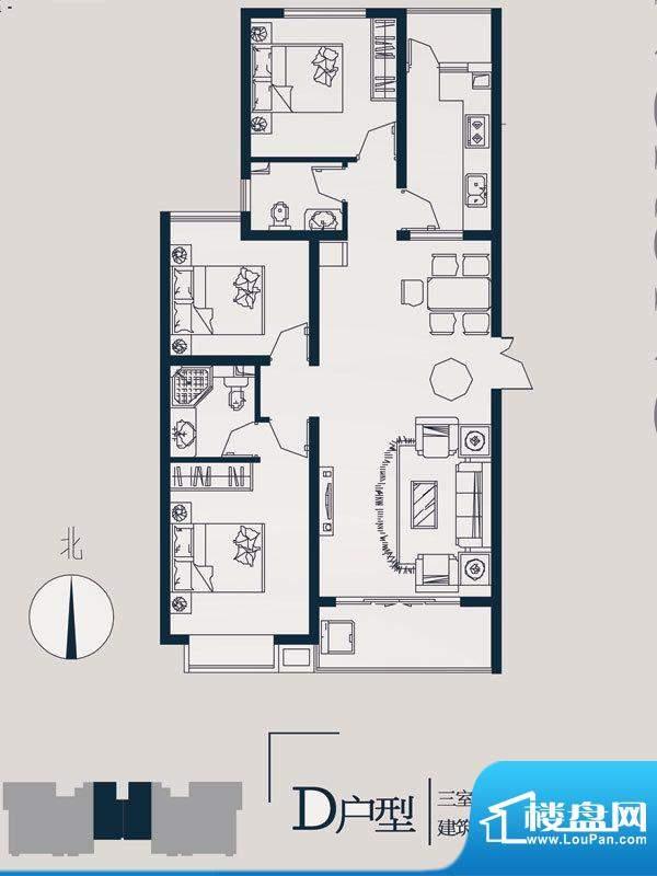 永邦天汇户型图10#D户型 3室2厅面积:113.00平米
