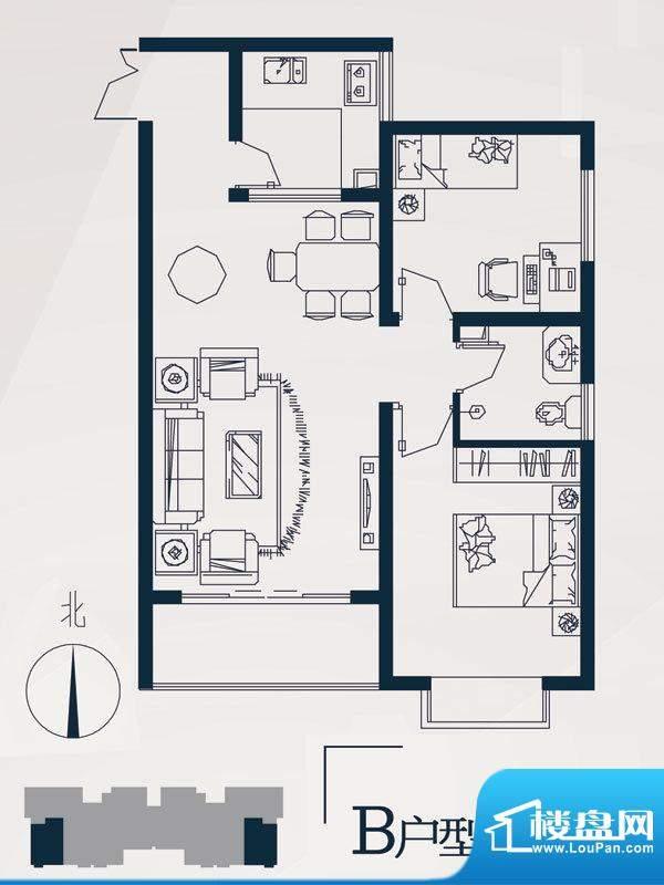 永邦天汇户型图10#B户型 2室2厅面积:85.00平米