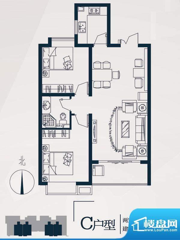 永邦天汇户型图10#c户型 2室2厅面积:86.00平米