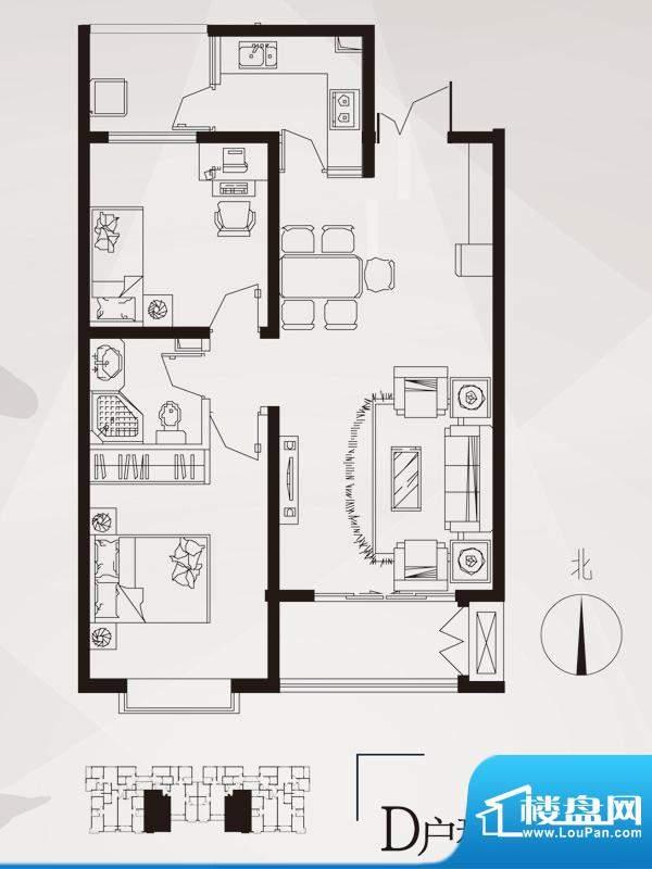 永邦天汇户型图6#-d户型 2室2厅面积:89.00平米