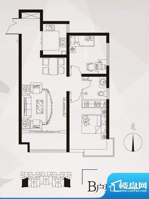 永邦天汇户型图6#-b户型 2室2厅面积:88.00平米