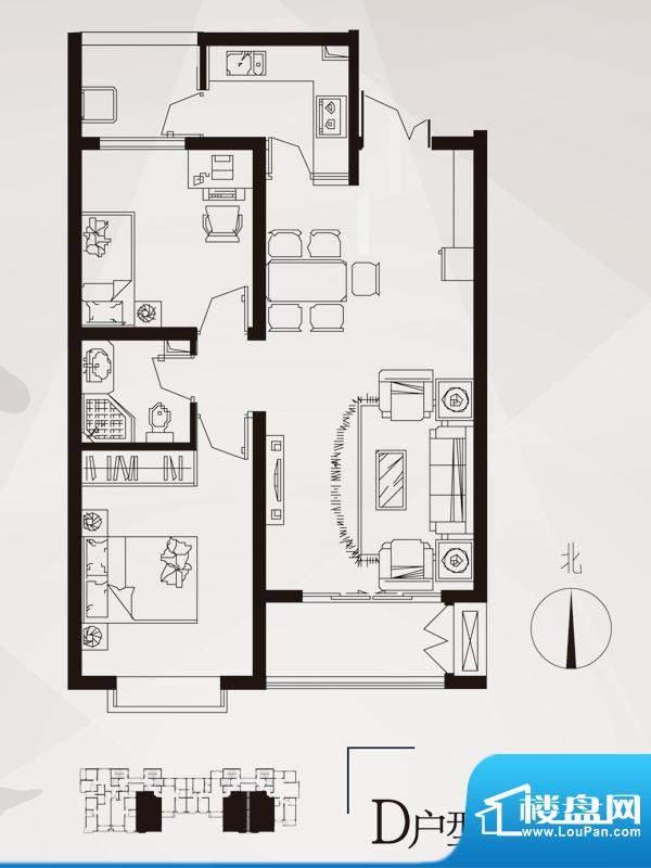 永邦天汇户型图3#-d户型 2室2厅面积:91.00平米