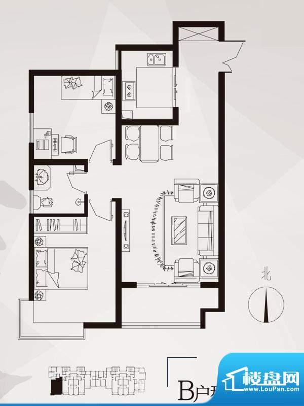 永邦天汇户型图3#-b户型 2室2厅面积:90.00平米