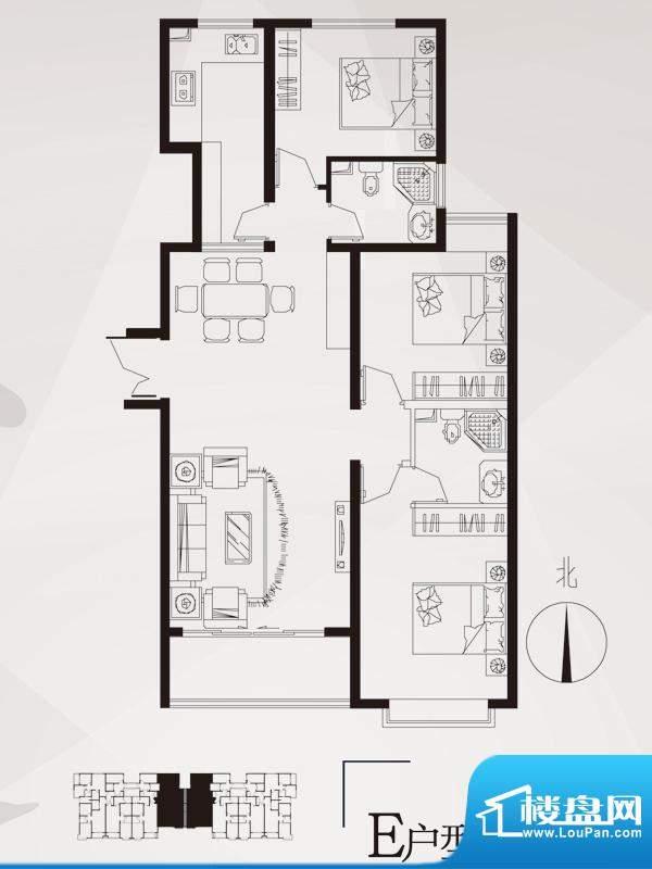 永邦天汇户型图6#-e户型 3室2厅面积:121.00平米