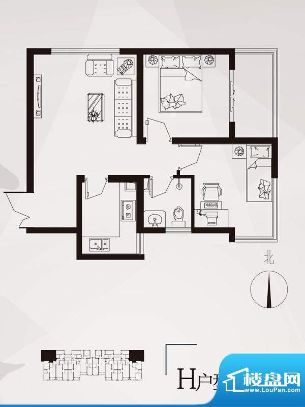 永邦天汇户型图6-h户型 2室1厅面积:68.00平米
