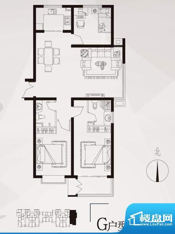 永邦天汇户型图3#-g户型 3室2厅面积:120.00平米