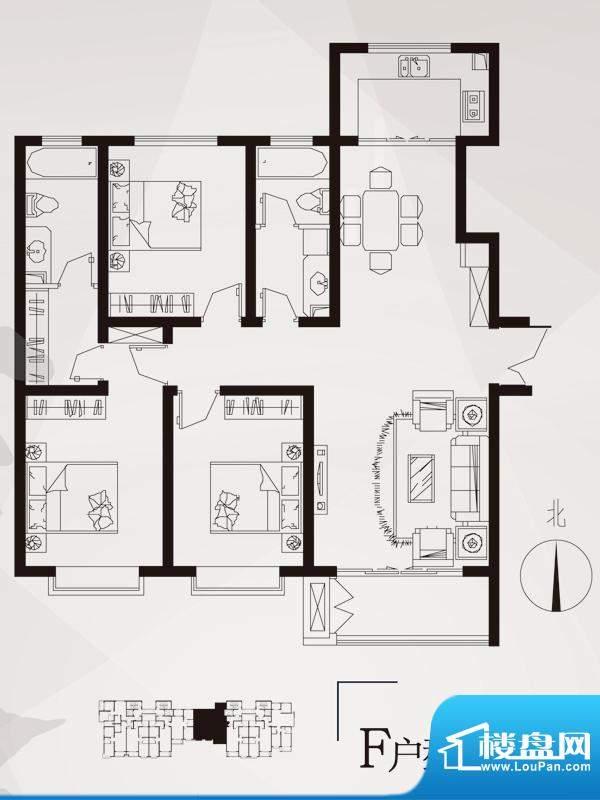 永邦天汇户型图3#-f户型 3室2厅面积:137.00平米