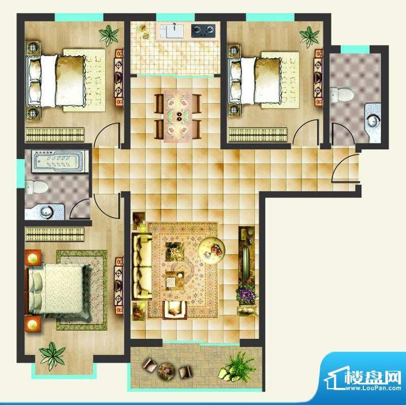 沸点名邸户型图A户型 3室2厅2卫面积:124.40平米