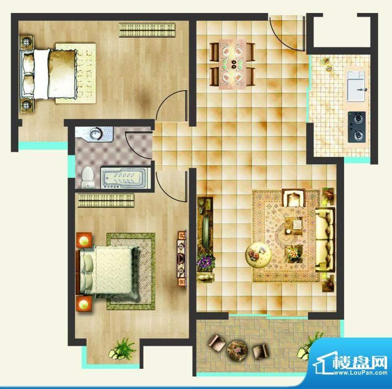 沸点名邸户型图B户型 2室2厅1卫面积:87.42平米
