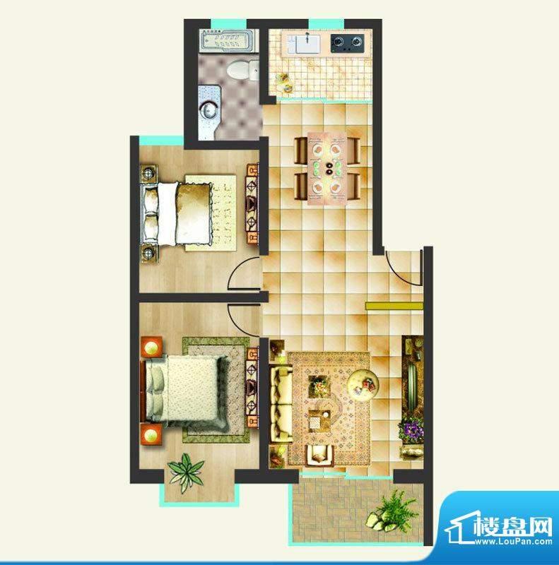 沸点名邸户型图C户型 2室2厅1卫面积:92.05平米