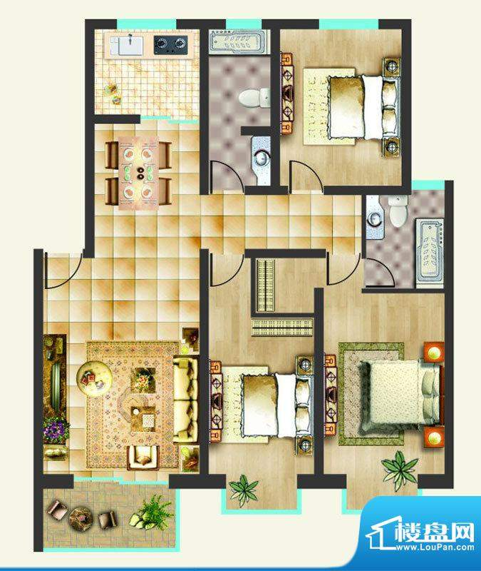 沸点名邸户型图D户型 3室2厅2卫面积:131.04平米