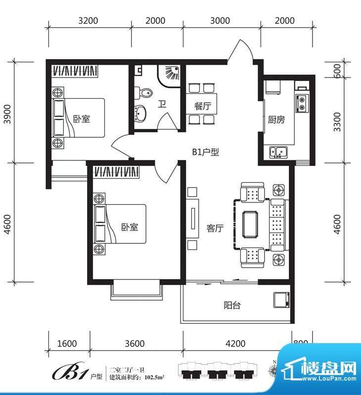 银佛家园户型图一期B1户型 2室面积:102.50平米