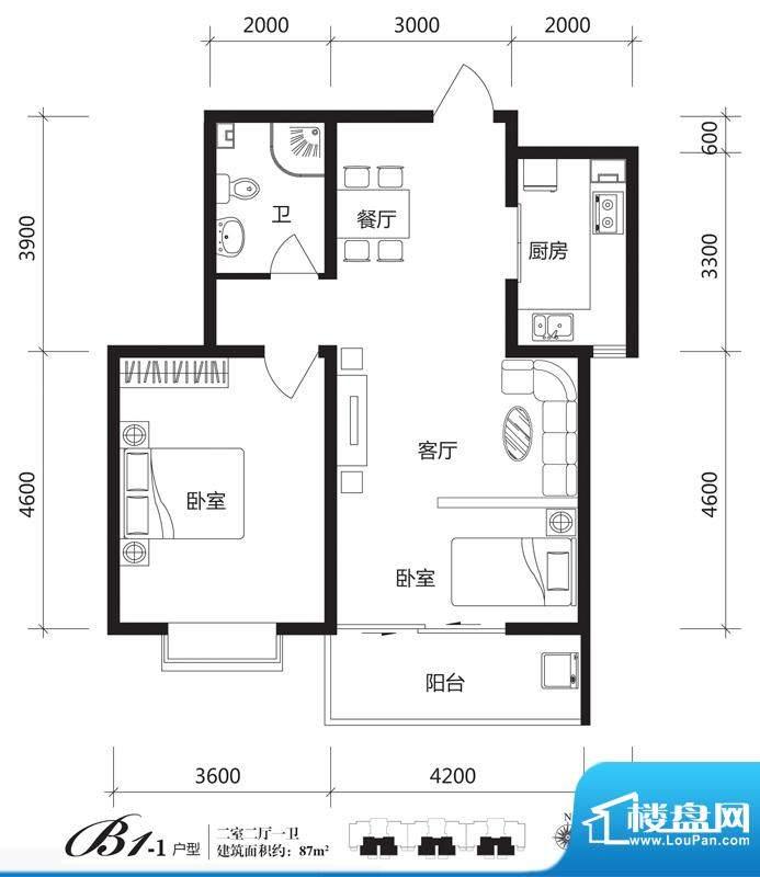 银佛家园户型图一期B1-1户型 2面积:87.00平米