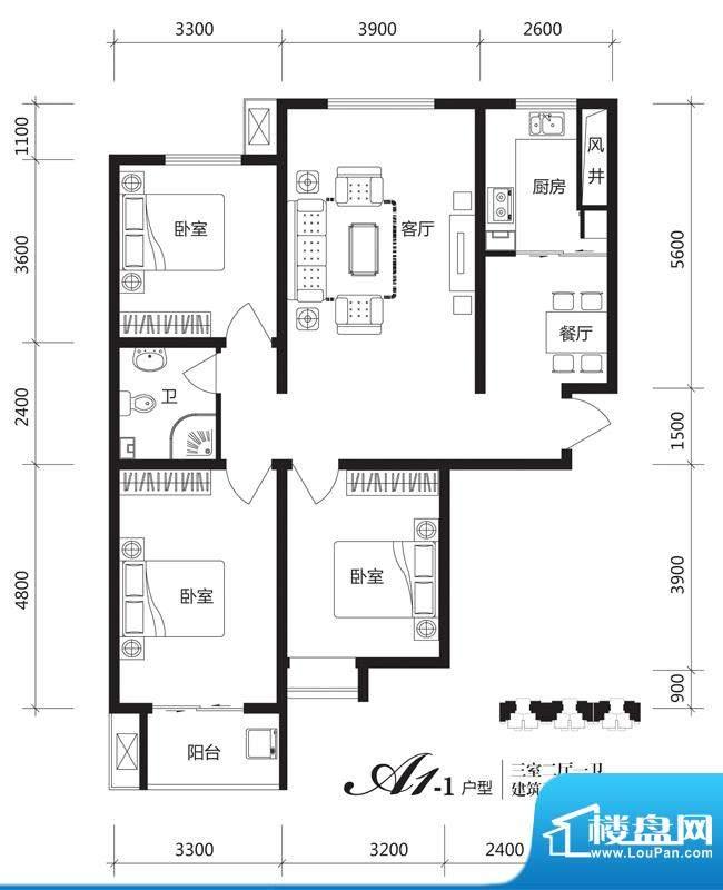 银佛家园户型图一期A1-1户型 3面积:121.25平米