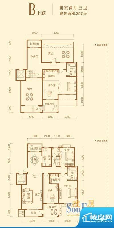 北城国际户型图B上跃 4室2厅3卫面积:257.00平米