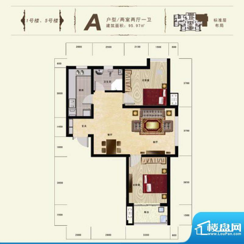 碧水春天户型图A户型 2室2厅1卫面积:95.97平米
