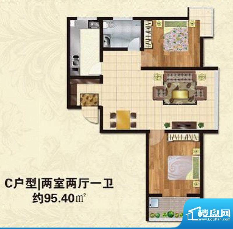 碧水春天户型图C户型 2室2厅1卫面积:95.40平米