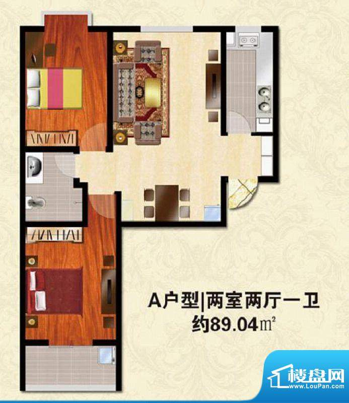 碧水春天户型图A户型 2室2厅1卫面积:89.04平米