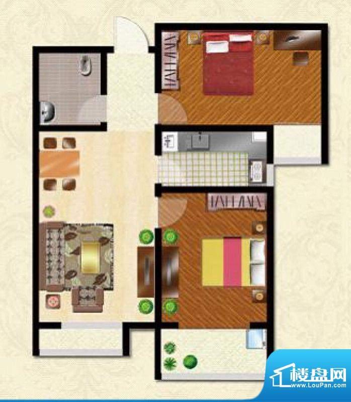 碧水春天户型图B户型 2室2厅1卫面积:95.40平米