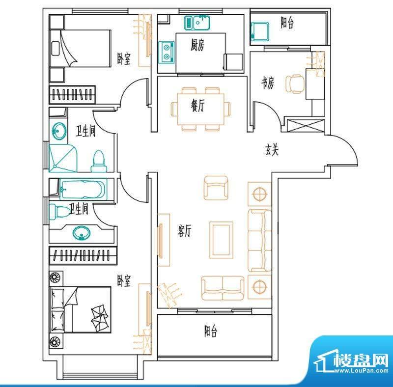 安联新青年广场户型图120平户型面积:120.00平米