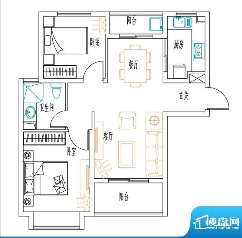 安联新青年广场户型图85平户型面积:85.00平米