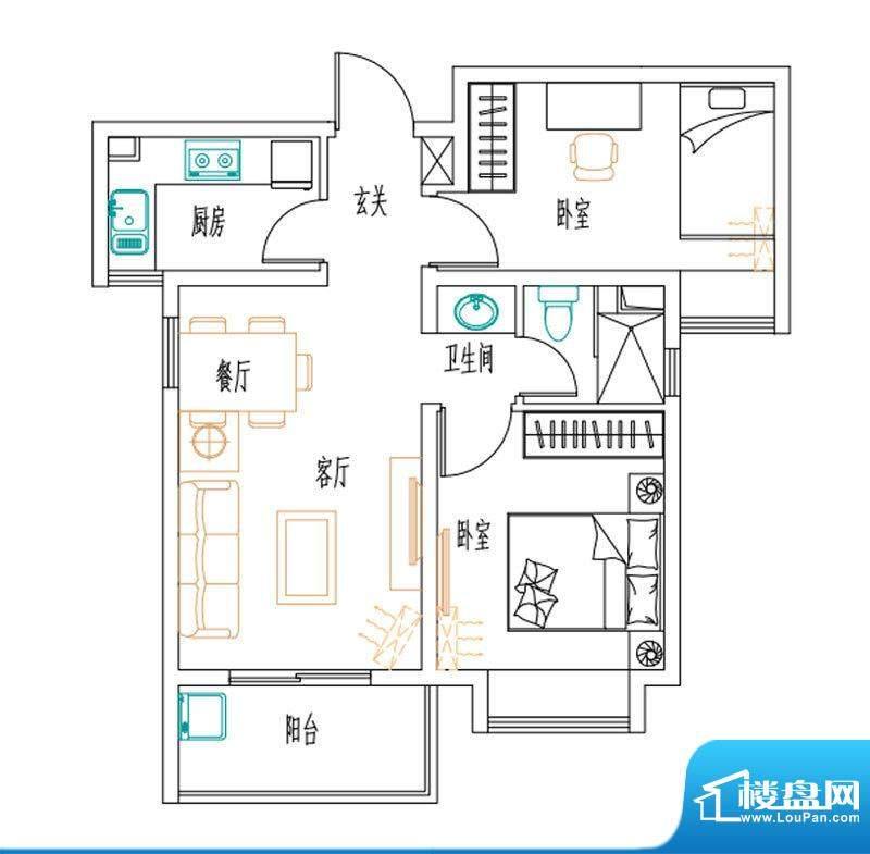 安联新青年广场户型图75平户型面积:75.00平米