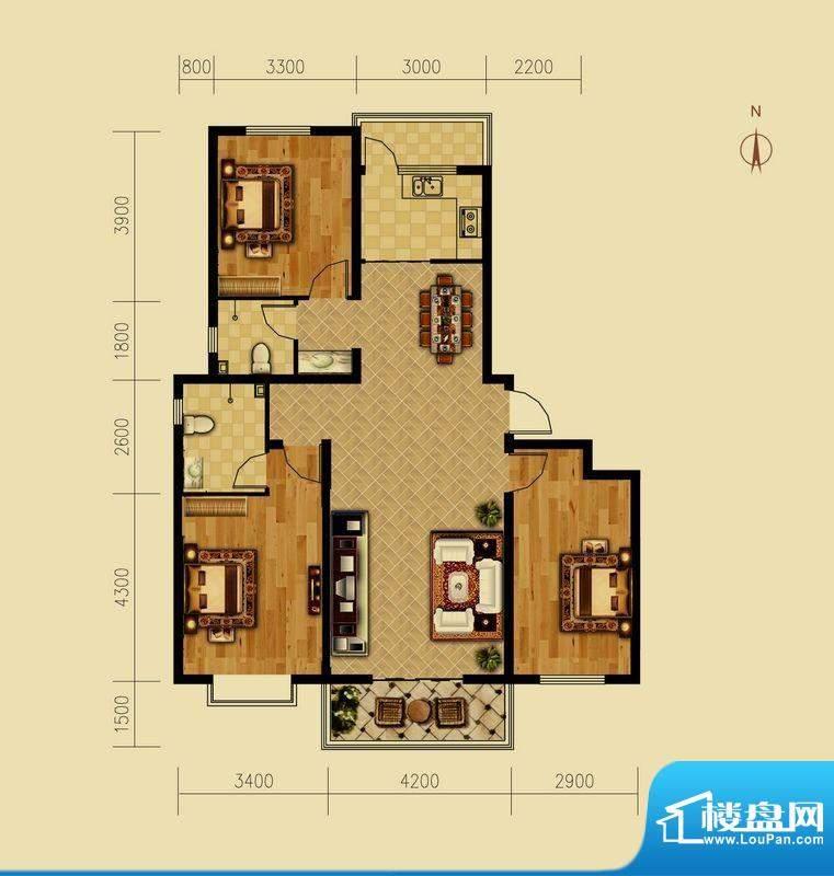 西原泓郡户型图C户型 3室2厅2卫面积:138.93平米
