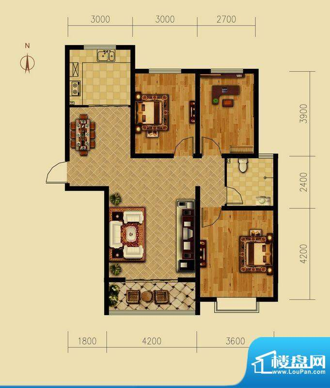 西原泓郡户型图I户型 3室2厅1卫面积:115.09平米