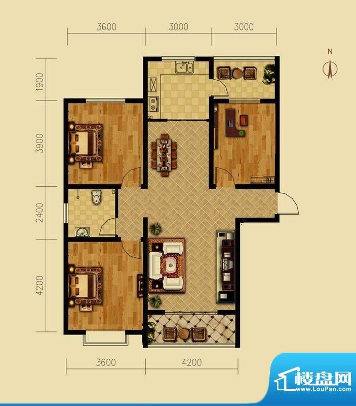 西原泓郡户型图K户型 3室2厅1卫面积:129.81平米