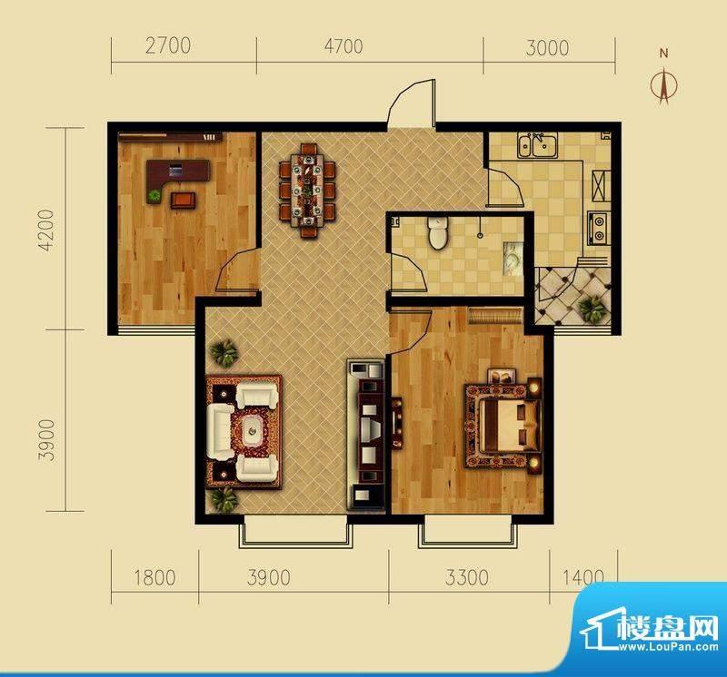 西原泓郡户型图J户型 2室2厅1卫面积:91.76平米
