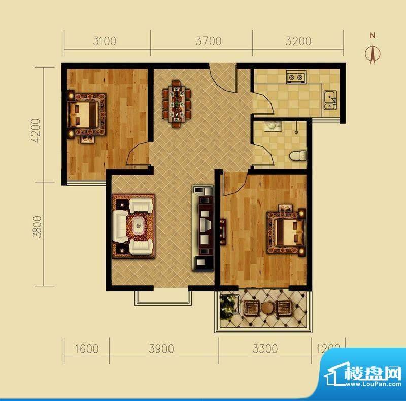 西原泓郡户型图B户型 2室2厅1卫面积:89.61平米