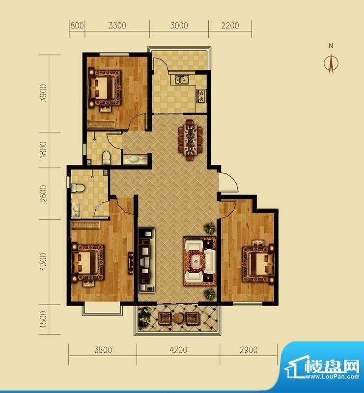 西原泓郡户型图C1户型 3室2厅2面积:136.49平米