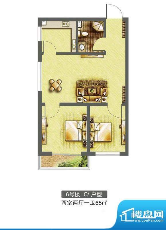 东焦民巷户型图6号楼-C户型 2室面积:65.00平米