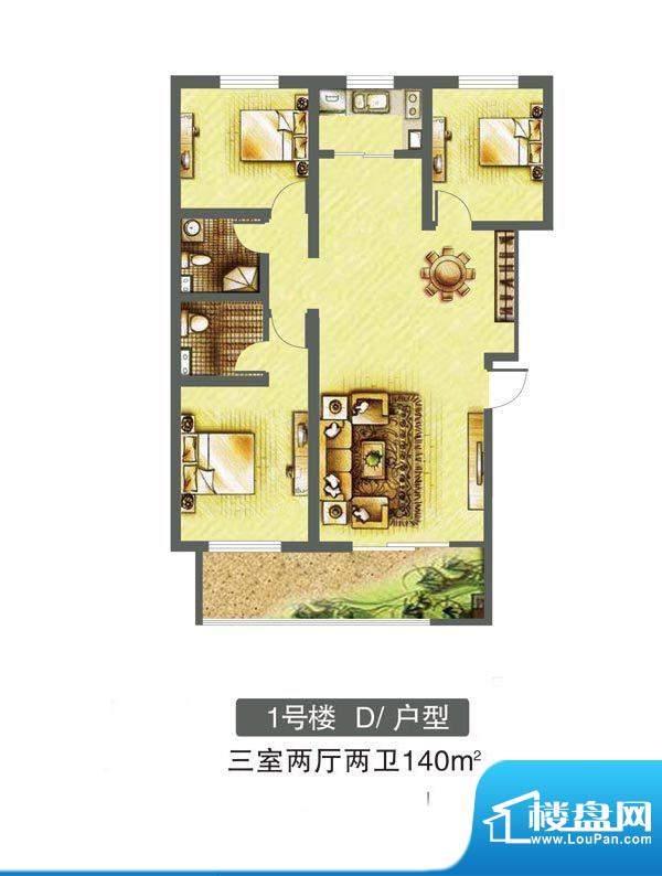 东焦民巷户型图1号楼-D户型 3室面积:140.00平米
