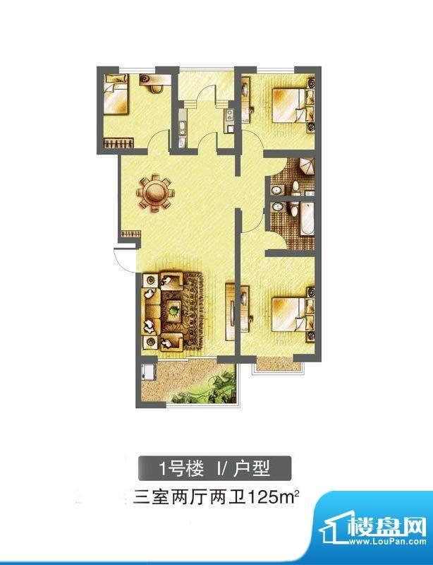 东焦民巷户型图1号楼-I户型 3室面积:125.00平米