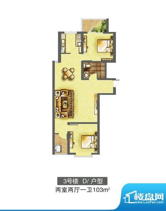 东焦民巷户型图3号楼-D户型 2室面积:103.00平米