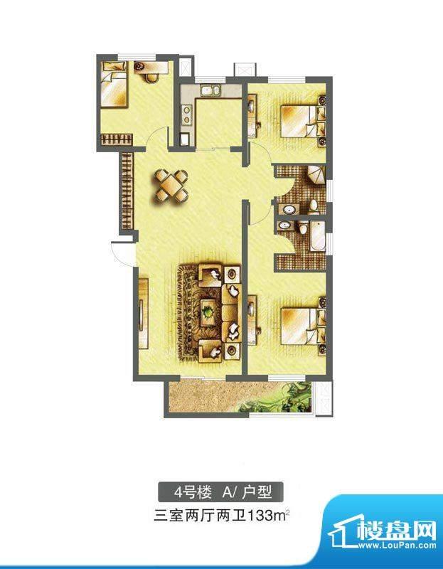 东焦民巷户型图4号楼-A户型 3室面积:133.00平米