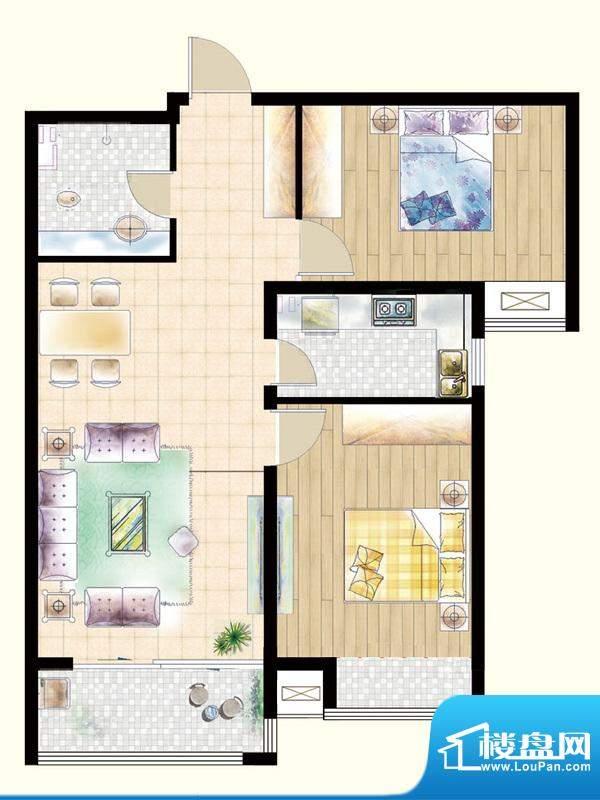嘉宇枫尚户型图K1户型 2室2厅1面积:94.90平米